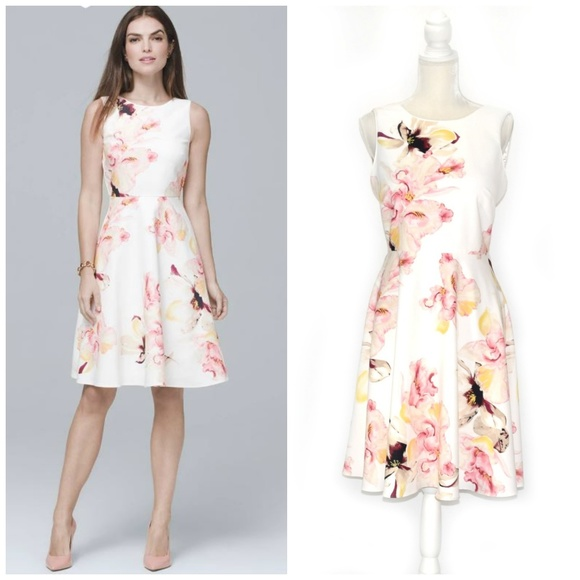 46ab1c572f White House Black Market Dresses | Whbm Exploded Floral Fit Flare ...